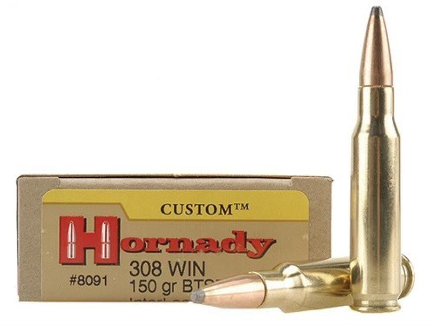 Hornady Custom .308 Win 150 Grain BTSP Ammunition 8091