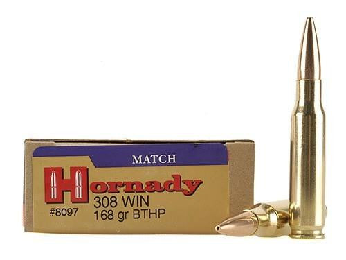 Hornady Match .308 Win 168 Grain BTHP Ammunition 8097