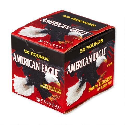 American Eagle 9MM 115 Grain Trayless FMJ Ammunition