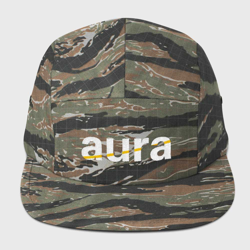Stripe Logo Camo Five Panel Cap