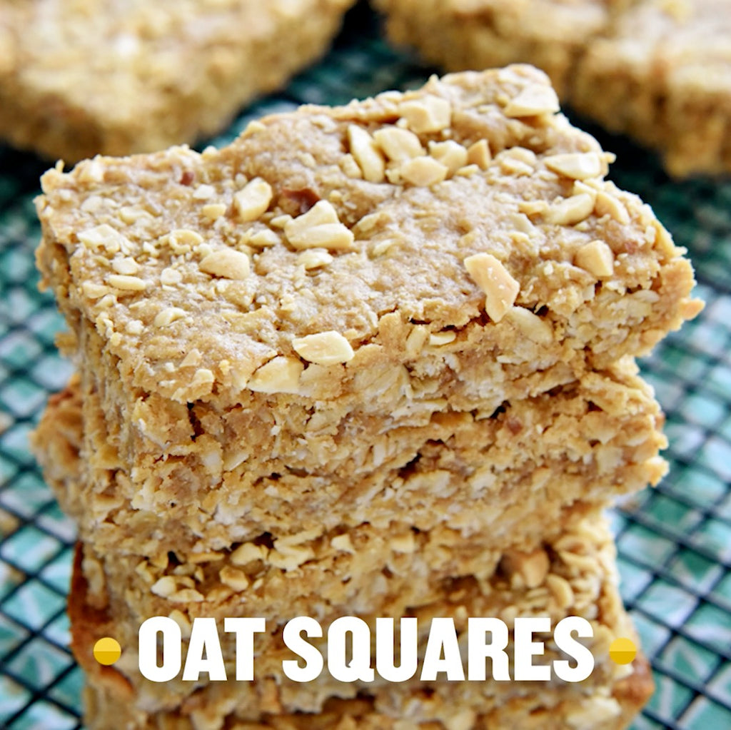 Super Simple Four-Ingredient Peanut Butter Oat Bars