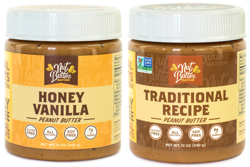 Honey Vanilla & Traditional Flavor Peanut Butter - Pack of 2 (12 oz)