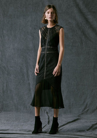 Once Was Getty Chevron Lace Dress - Black