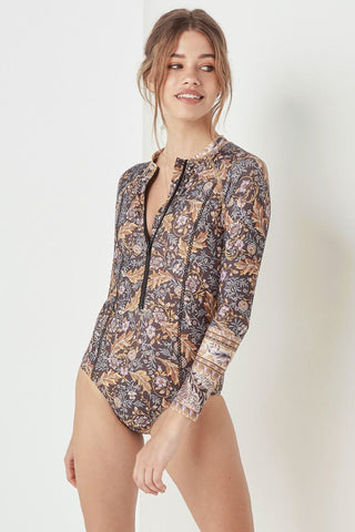 Spell Oasis Long Sleeve One Piece -  Nightshade