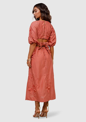 MINISTRY OF STYLE Dreamscape Maxi Dress - Rhubarb