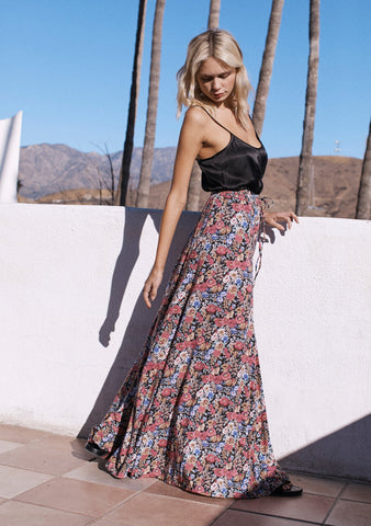Auguste Super Bloom Panelled Maxi Skirt - Charcoal