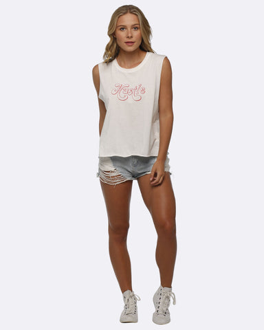 Folksong Hustle Cropped Tank - White