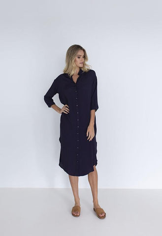 HUMIDITY Melody Shirt Dress - Navy