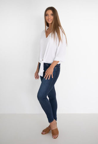 HUMIDITY Tie Front Top - White