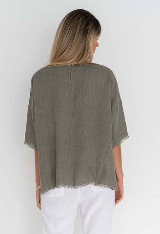 HUMIDITY Tala Linen Top - Khaki