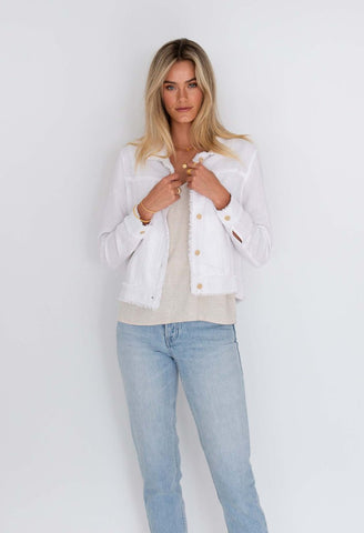 HUMIDITY Isabella Linen Jacket - White
