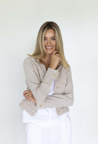 HUMIDITY Isabella Linen Jacket - Natural