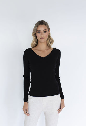 HUMIDITY Merino V Neck Basic - Black