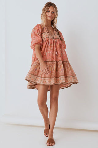 SPELL Seashell Boho Mini Dress - Coral