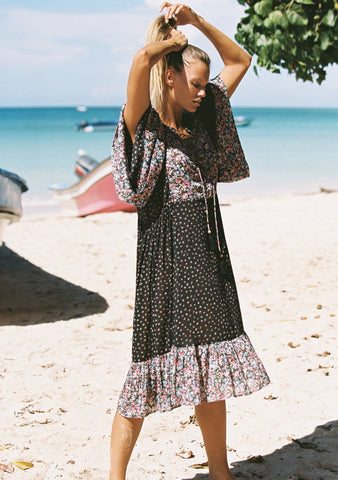 Auguste Palm Springs Poolside Midi Dress Black