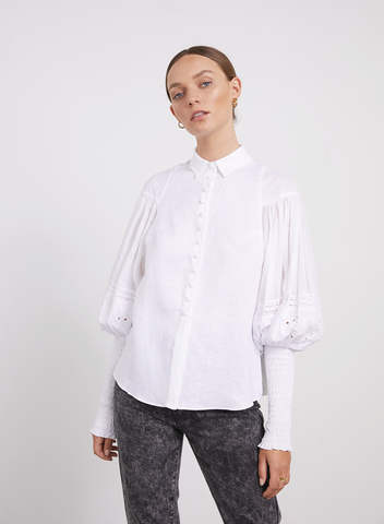 JOSLIN Sarina Linen Cotton Lace Shirt