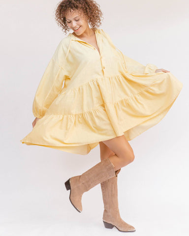 THE LULLABY CLUB Avalon Smock Dress | Lemon