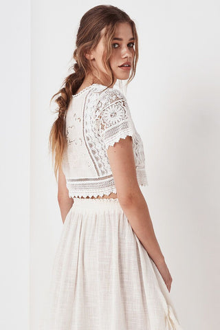 Spell Designs Abigail Lace Crop Top - White
