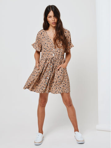 KIVARI Nomade Leopard Baby Doll Dress