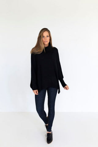 Humidity Roll Over Sweater - Black