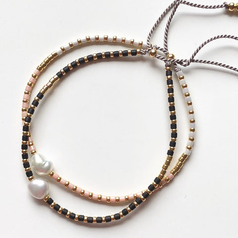 Athena+Co Pearl, Blush & Gold Fine Beaded Bracelet