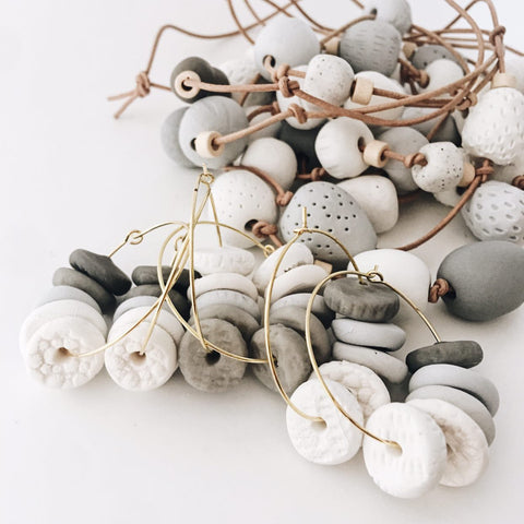 BELLEBIRD Textured Clay Shell Hoops
