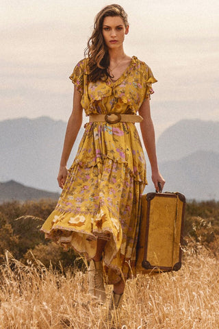 Spell Wild Bloom Gown - Mustard