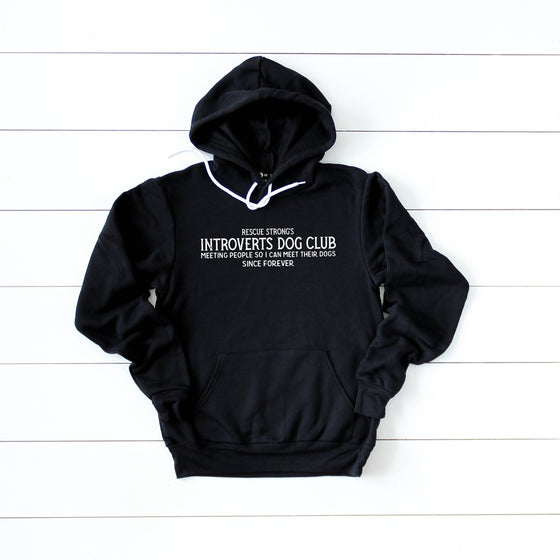 Unisex Introverts Dog Club Pullover Hoodie | Rescue Strong