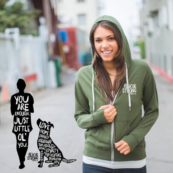 You Are Enough Unisex Zip Hoodie (with thumb holes)