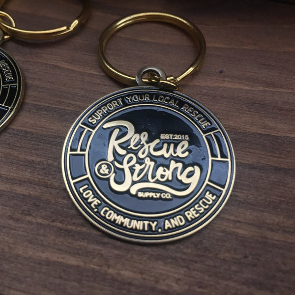 Rescue Strong Antique Brass Keychain/Charm