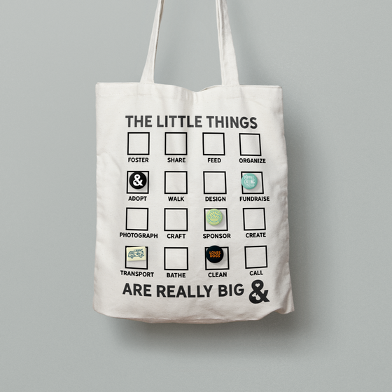 The Little Things Are Really Big Canvas Tote Bag + Pin Pack