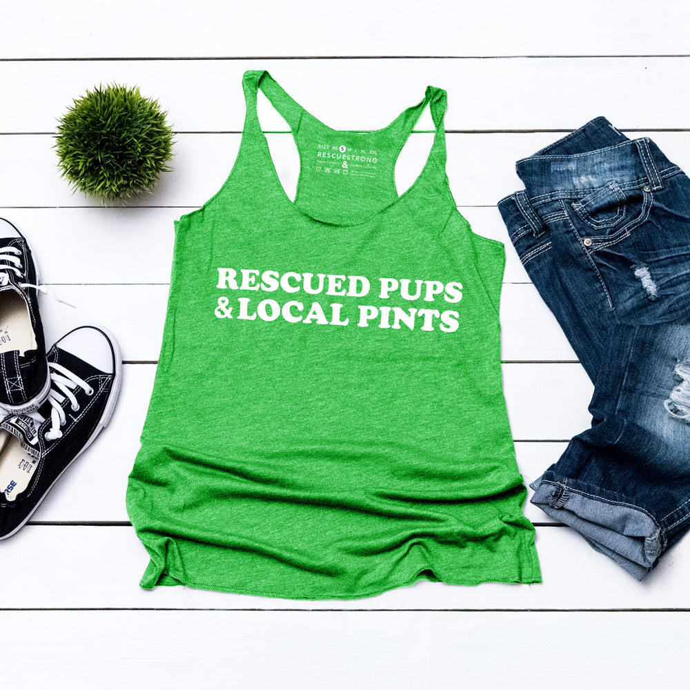 Rescued Pups & Local Pints Women's Racerback | Rescue Strong