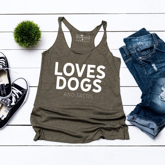 Love Dogs (and tacos) Women's Racerback Tank | Rescue Strong