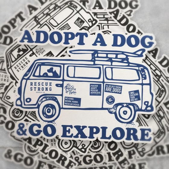 Adopt a Dog X RS Road Trip Sticker (Pack of 2) | Rescue Strong