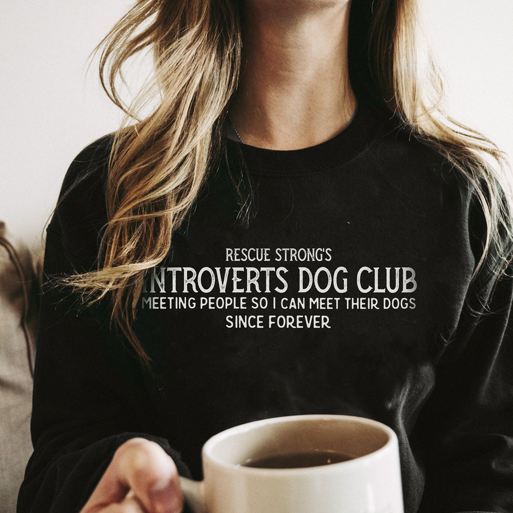 Unisex Introverts Dog Club Crew Neck Sweater | Rescue Strong