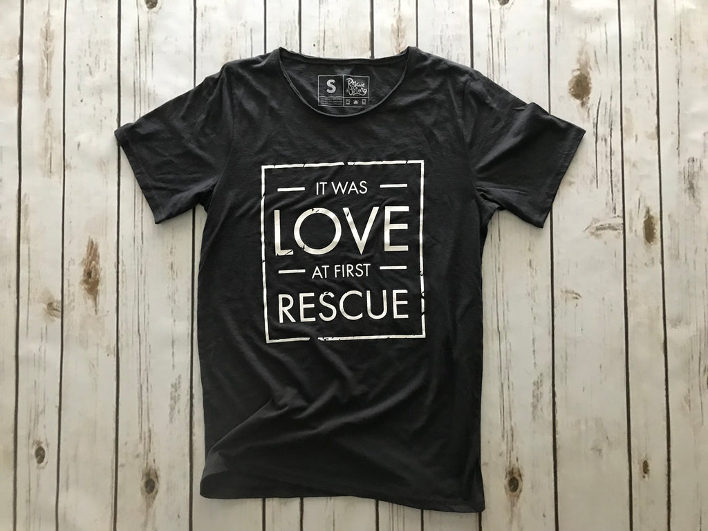 Raw Neck Unisex Love at First Rescue Tee