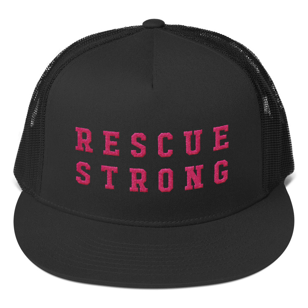 Rescue Strong Embroidered Trucker (Pink Thread)