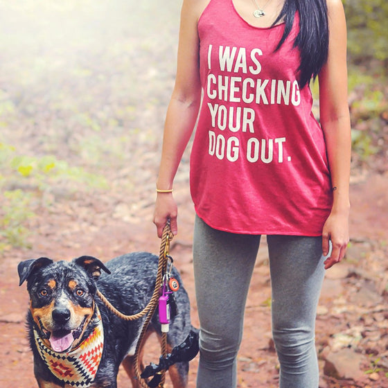 I Was Checking Your Dog Out™ Women's Racerback Tank | Rescue Strong