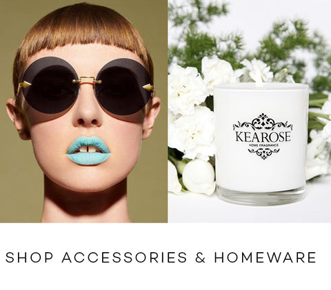 Collection containing Karen Walker Eyeware, Captives candles, Palm Beach, Mo & Mel, Girl Undiscovered. Sunglasses, candles, skin care, beauty products.