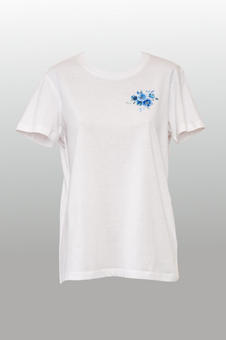 Blue Posy Tee - White