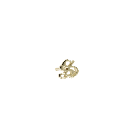 Capital Letter Stud SINGLE - Gold Plated