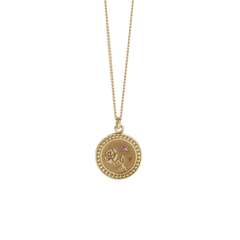 Amulet Love Necklace - Gold Plated - Pink Sapphire