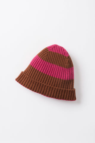 Woolly Stripe Beanie - Raspberry/Tan