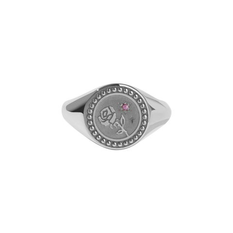 Amulet Love Signet Ring - Sterling Silver - Pink Sapphire