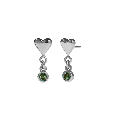 Camille Stone Stud Earrings - Sterling Silver Green Sapphire