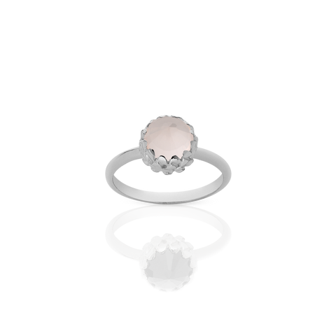 Mini Protea Ring - Silver/Rose Quartz