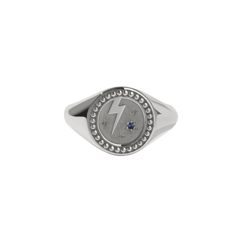 Amulet Strength Signet Ring - Sterling Silver - Blue Sapphire