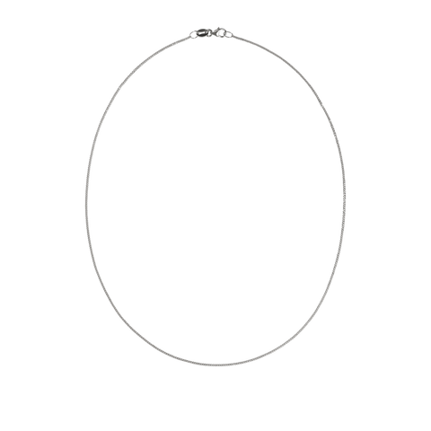Diamond Curb Necklace - Sterling Silver