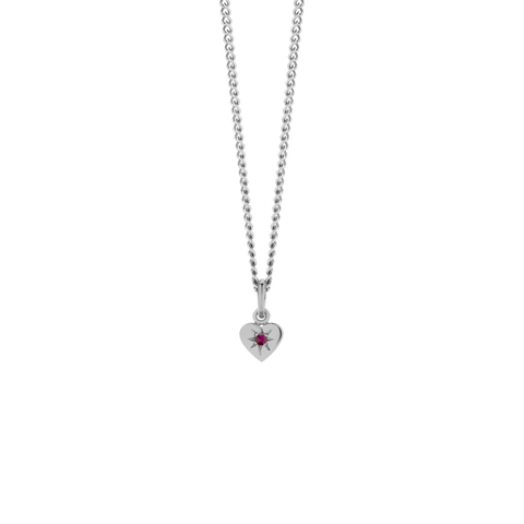 Diamond Heart Necklace - Sterling Silver