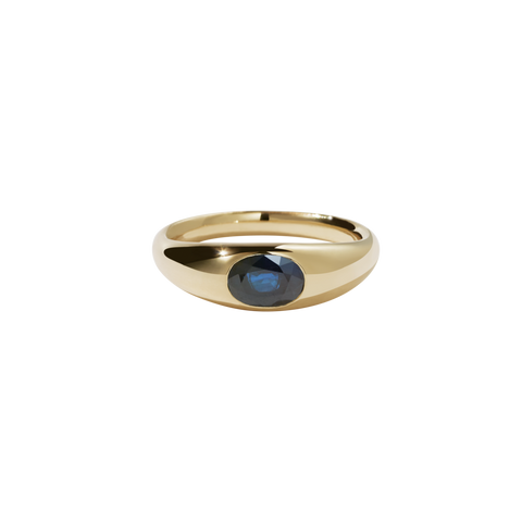 Claude Ring with Stone - Gold Plated Blue Sapphire